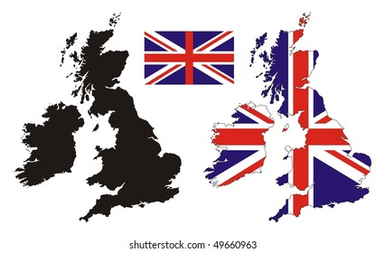 United kingdom map flag design