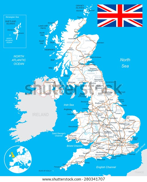 United Kingdom Map Flag Roads Illustration Stock Vector (Royalty