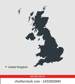 United kingdom map flat icon, vector illustration on gray background