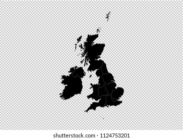 United Kingdom map - High detailed Black map with counties/regions/states of UK. United Kingdom map isolated on transparent background.