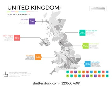 United Kingdom map infographics with editable separated layers, zones, elements and district area in vector