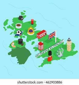 United Kingdom map in isometric 3d style. Symbols of the UK set collection vector illustration