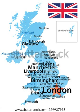 United Kingdom Map Largest Cities Carefully Stock Vector Royalty