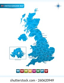 United Kingdom Map with navigation icons