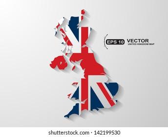 United Kingdom map with shadow effect