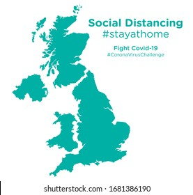 United Kingdom map with Social Distancing #stayathome tag