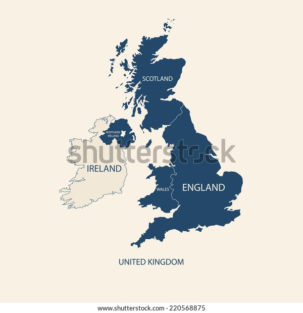 United Kingdom Kort Uk Kort Lagervektor Royaltyfri 220568875