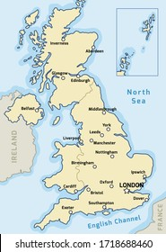 United Kingdom map vector - major cities marked on map of the UK.
