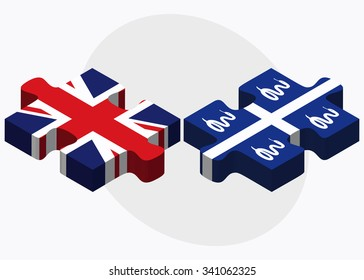 United Kingdom and Martinique Flags in puzzle isolated on white background