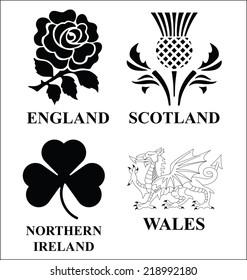 United Kingdom monochrome emblem set isolated on white background