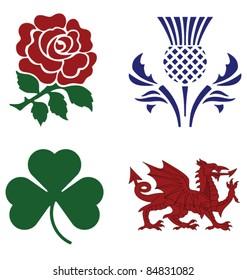United Kingdom national emblems isolated on white background