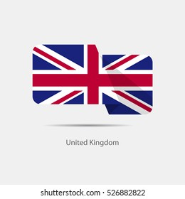 United Kingdom national flag on a white background with shadow. vector illustration