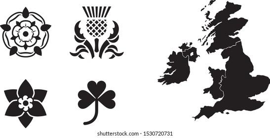 United Kingdom national flowers, map