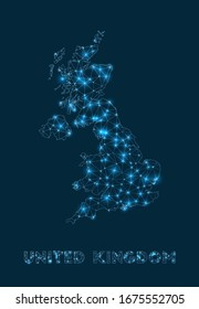 United Kingdom network map. Abstract geometric map of the country. Internet connections and telecommunication design. Stylish vector illustration.