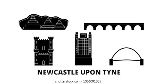 United Kingdom, Newcastle Upon Tyne flat travel skyline set. United Kingdom, Newcastle Upon Tyne black city vector panorama, illustration, travel sights, landmarks, streets.