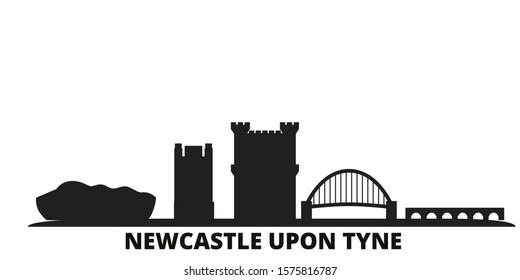 United Kingdom, Newcastle Upon Tyne city skyline isolated vector illustration. United Kingdom, Newcastle Upon Tyne travel black cityscape