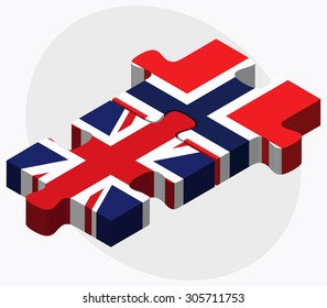 United Kingdom and Norway Flags in puzzle isolated on white background