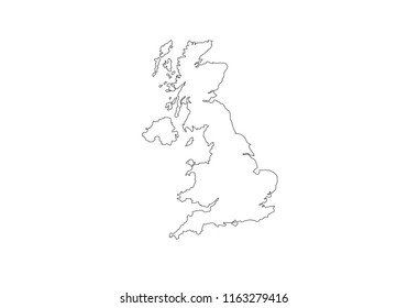 United Kingdom outline map national borders country shape