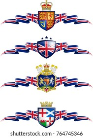United Kingdom Patriotic Banner Set. Vector graphic banners and shields representing the United Kingdom