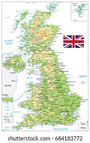 United Kingdom Physical Map with city names isolated on white. Vector illustration.