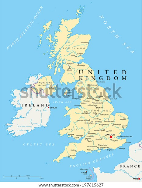 London Free Map.United Kingdom Political Map Capital London Stock Vector Royalty
