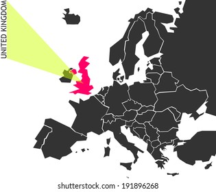 United Kingdom - political map of Europe with marked state. Marker looks like ray of light. (vector illustration)
