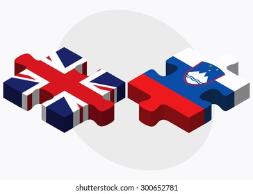 United Kingdom and Slovenia Flags in puzzle isolated on white background