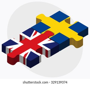 United Kingdom and Sweden Flags in puzzle isolated on white background