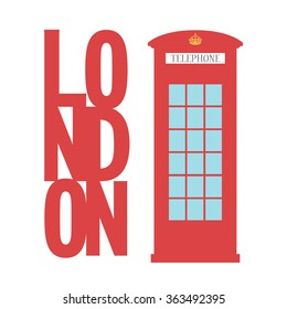 United Kingdom Telephone Box / London public call / vector  /
