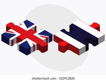United Kingdom and Thailand Flags in puzzle isolated on white background