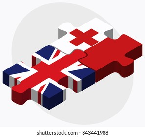 United Kingdom and Tonga Flags in puzzle isolated on white background