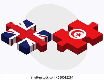 United Kingdom and Tunisia Flags in puzzle isolated on white background