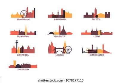 United Kingdom UK cities icons set, modern skyline citysape landmark logo vector pack