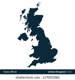 United Kingdom (UK) - Europe Countries Map Vector Icon Template Illustration Design. Vector EPS 10.