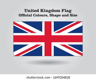 United Kingdom (UK) flag official colours, shape and size in vector.
