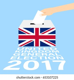United Kingdom (UK) General Election 2017 Vector Illustration Flat Style - Hand Putting Voting Paper in the Ballot Box