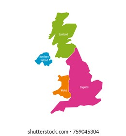 United Kingdom, UK, of Great Britain and Northern Ireland map. Divided to four countries - England, Wales, Scotland and NI. Simple flat vector illustration.