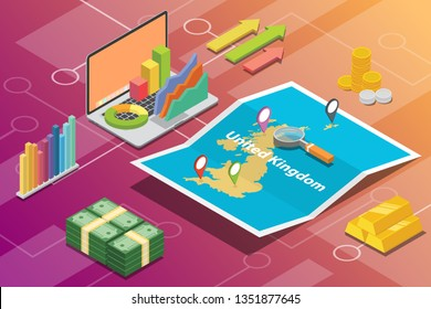 united kingdom uk isometric business economy growth country with map and finance condition - vector