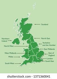 United Kingdom or UK map land area vector with region names on green background illustration