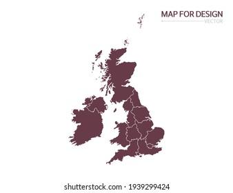 United Kingdom (UK) map on white background vector illustration.