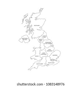 United Kingdom UK Regions Map Line Vector