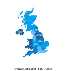 United Kingdom UK Regions Map