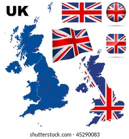 United Kingdom vector set. Detailed country shape with region borders, flags and icons isolated on white background.