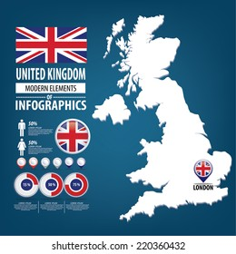 United Kingdom vector set. flags and icons isolated on white background.