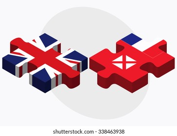 United Kingdom and Wallis and Futuna Flags in puzzle isolated on white background