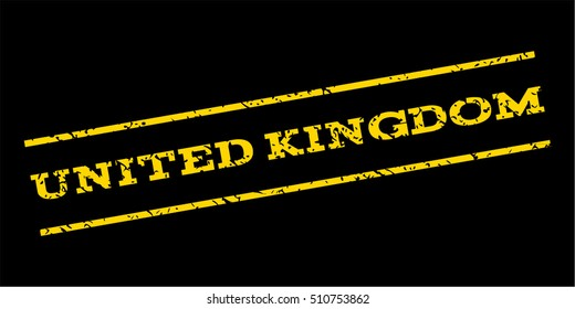 United Kingdom watermark stamp. Text tag between parallel lines with grunge design style. Rubber seal stamp with scratched texture. Vector yellow color ink imprint on a blue background.