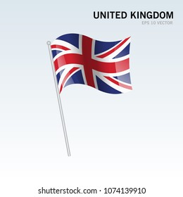 United Kingdom waving flag isolated on gray background