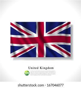 United Kingdom waving flag isolated against white background, vector illustration
