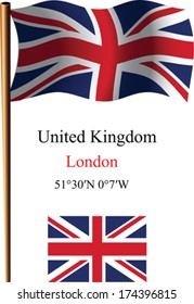 united kingdom wavy flag and coordinates against white background, vector art illustration, image contains transparency