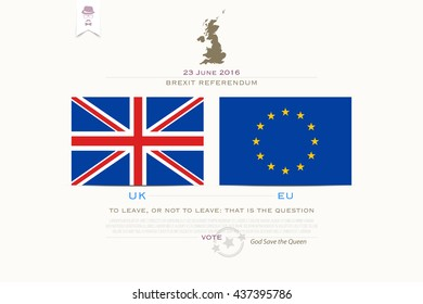 United Kingdom withdrawal from the European Union banner template. vector EU and British flags icons over white background. public referendum announcement, political crisis concept. vector UK map